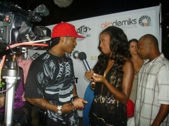 Hanging out with Chingy at Luda's party at the swanky Sky Bar at the Mondrian, Los Angeles