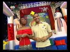 Presenting with Michael Underwood on CITV during the Christmas season 2001