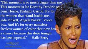 "Halle Berry acceptance speech at The Oscars for her leading role in ""Introducing Dorothy Dandridge"""